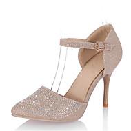 Saltos-D'Orsay Sapatos clube-Salto Agulha-Prateado Dourado-Gliter Materiais Customizados-Casamento Social Festas & Noite