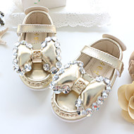 Baby Flats Spring Fall Comfort Patent Leather Outdoor Casual Flat Heel Rhinestone Magic Tape Gold Silver Walking