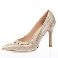 Dame-Glitter Tyll-StiletthælHøye hæler-Bryllup Friluft Kontor og arbeid Formell Fritid Fest/aften-Gull Hvit Svart Sølv