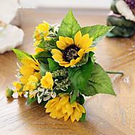 1 ענף משי חמניות פרחים מלאכותיים 27
