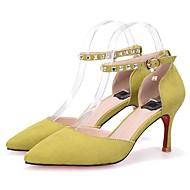 Women's Heels Spring Summer Fall Club Shoes Comfort Suede Party & Evening Dress Casual Stiletto Heel Rhinestone BuckleBlack Yellow Pink