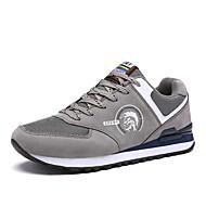 Herren-Sneaker-Outddor Lässig Sportlich-Tüll Leder-Flacher Absatz-Leuchtende Sohlen Komfort-Grau Dunkelblau