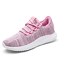 Women's Sneakers Spring Summer Fall Comfort Light Soles Tulle Outdoor Casual Flat Heel Lace-up Walking Shoes