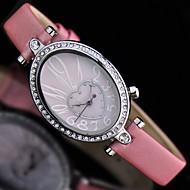 Fashion Watch Quartz Leather Band Black White Pink