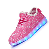 Girl's Athletic Shoes Spring Summer Fall Winter Light Up Shoes Fabric Athletic Flat Heel LED Black Blue Pink White