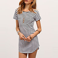 Women's Fine Stripe Going out Casual/Daily Simple Street chic Summer T-shirtStriped Fashion All Match Round Neck Short Sleeve Medium