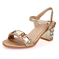 Sandals Spring Summer Fall Club Shoes Cowhide Wedding Party & Evening Dress Chunky Heel Crystal Heel Rhinestone Buckle Crystal HeelYellow