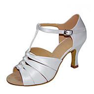 Для женщин-Атлас-Персонализируемая(Черный Коричневый Белый Серебро Золотистый) -Латина Джаз Сальса Обувь для свинга