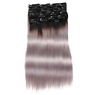 9pcs / set clipe de 120g de luxo em extensões do cabelo ombre preto ao cinza 16inch 20inch 100% cabelo humano direto para mulheres
