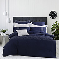 turqua TAKE A DEEP BREATH 100% Cotton Embroidered Duvet Cover Set 4pcs Including Comforter Case Flat Sheet Pillowcase Bluewhite