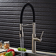 Contemporary Brass Nickel Brushed Kitchen Sink Faucet - Black / Green / Orange