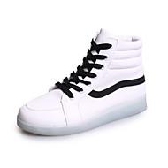 Dame Støvler Komfort Lysende sko PU Vår Sommer Avslappet Komfort Lysende sko Flat hæl Hvit Svart Flat