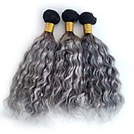 Ombre Düz Brezilya Saçı Derin Dalga 6 Ay 3 Parça saç örgüleri