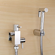 Bidet Faucets  ,  Contemporary  with  Chrome Two Handles One Hole  ,  Feature  for Wall Mount Pull out