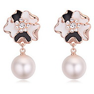Stud Earrings Crystal Pearl Alloy Natural Flower White Black Dark Blue Gray Copper Jewelry Daily 1 pair