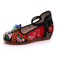 Women's Oxfords Spring Summer Fall Winter Comfort Novelty Embroidered Shoes Canvas Outdoor Athletic Casual Flat Heel Buckle FlowerBlue