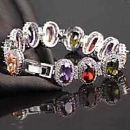 Dámské Řetězové & Ploché Náramky Křišťál Zirkon Slitina příroda Módní luxusní šperky Round Shape Bílá Duhová Světle fialová Šperky 1ks
