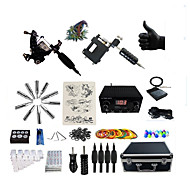Complete Tattoo Kit 1 steel machine liner & shader 1 rotary machine liner & shader 2 Tattoo Machines LED power supplyInks Shipped
