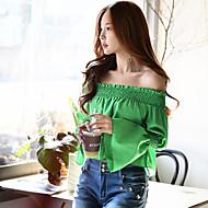 Camisa Social Para Noite Casual Férias Vintage Moda de Rua Sofisticado Primavera Outono,Sólido Verde Poliéster Ombro a Ombro Manga Longa