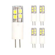5pcs g4 13led smd2835 ac / DC12V 5w 850lm varm hvid / hvid dobbelt pin dæmperen keramiske lampe