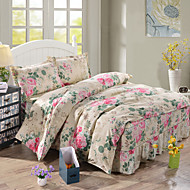 Solid Duvet Cover Sets 4 Piece Polyester Contemporary Reactive Print Polyester Queen 1pc Duvet Cover 2pcs Shams 1pc Bedskirt
