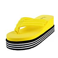 Для женщин Тапочки и Шлепанцы Полиуретан Лето Повседневные На плоской подошве Белый Черный Желтый Пурпурный На плоской подошве