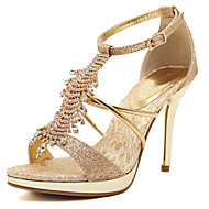 Women's Sandals Summer Club Shoes Comfort Ankle Strap PU Wedding Party & Evening Dress Stiletto Heel Rhinestone Buckle Tassel Rose Gold Walking