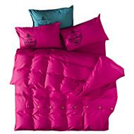חידוש סטי שמיכה 4 חלקים פוליאסטר אחיד הדפסה תגובתית פוליאסטר זוגי מלא קווין קינג 4 יחידות (1 כיסוי שמיכה, 2 כיסוי כרית, 1 סדין)