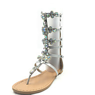 Women's Sandals Spring Summer Fall Other PU Party & Evening Dress Casual Low Heel Rhinestone Flower Silver
