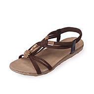 נשים סנדלים נעלי בובה (מרי ג'יין) PU קיץ קזו'אל נעלי בובה (מרי ג'יין) עניבת פרפר עקב נמוך שחור בז' צהוב חום כהה שטוח