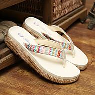 Women's Slippers & Flip-Flops Spring Summer Fall Slingback Linen Outdoor Casual Low Heel Black White Beige Walking