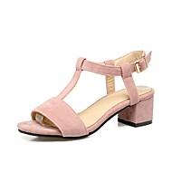 Feminino-Sandálias-Conforto Inovador Sapatos clube-Salto Grosso Salto de bloco-Preto Bege Rosa claro-Flanelado Materiais Customizados-