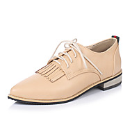 Women's Shoes Flats Spring Summer Fall Winter Comfort Leatherette Office & Career Casual Low Heel Lace-up Tassel Black Yellow Gray Almond