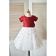 Princess Knee-length Flower Girl Dress - Taffeta Tulle Scoop with Beading Bow(s) Sequins