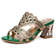Women's Slippers & Flip-Flops Spring Summer Fall Other Synthetic Dress Casual Chunky Heel Rhinestone Green Gold