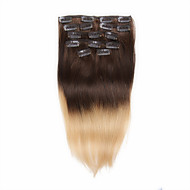 7pcs / set 14-18inch clip in human hair extensions 75g-85g blonde haren ombre steil haar