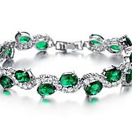 Pulseiras em Correntes e Ligações Esmeralda Cristal Cristal Zircão imitação de diamante Liga Moda Jóias Vermelho Verde Jóias 1peça