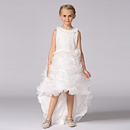 Ball Gown Asymmetrical Flower Girl Dress - Organza Jewel with Beading Lace Cascading Ruffles