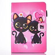 Varten Korttikotelo Tuella Flip Kuvio Magneetti Etui Kokonaan peittävä Etui Kissa Kova Tekonahka varten Apple iPad Air 2 iPad Air
