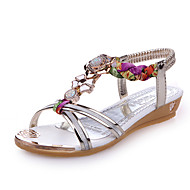 Sandals Summer Novelty Leatherette Party & Evening Dress Casual Wedge Heel Rhinestone Gold Sliver Walking