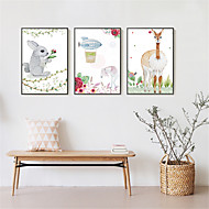 3D Framed Art Print Framed Canvas Framed Set Wall Art Brown Mat Included With Frame Abstract Hand-painted Cartoon L(53cm*73cm) XL(63cm*83cm)