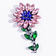 Femme Broche Alliage Basique Mode Forme de Fleur Jaune Rose Pailleté Bijoux Quotidien