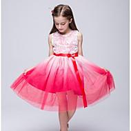 A-line Knee-length Flower Girl Dress - Organza Jewel with Beading