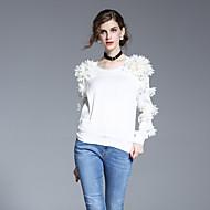 Langærmet Rund hals Damer Hvid Ensfarvet Forår Sommer Simpel I-byen-tøj Skjorte,Polyester