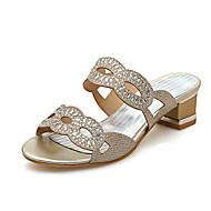 נשים-סנדלים-נצנצים חומרים בהתאמה אישית-נעלי מועדון-זהב כסף-חתונה שמלה מסיבה וערב-עקב עבה חסום את העקב