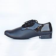 Customizable Men's Leather Dance Shoes Lace-upTap/Modern/Salsa/Tango/Latin / Jazz / Dance Sneakers Chunky Heel Comfortable Ballroom shoes (Fur bottom)