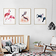 Fantasy 3D Framed Art Print Framed Canvas Framed Set Wall Art Brown Mat Included With Frame Hand Painted Abstract Animals L(53cm*73cm) XL(63cm*83cm)