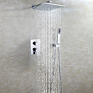 Contemporary Bathroom Shower Faucet Set / 25X25 CM Square Rain Shower Head / Hot And Cold Easy-mount Box Mixer Valve Included / Chrome / Brass
