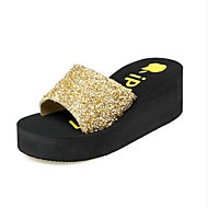 Women's Slippers & Flip-Flops Spring Summer PU Outdoor Gold Black Light Grey Blushing Pink