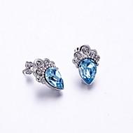 עגילים צמודים קריסטל קריסטל Crown Shape כחול כהה תכשיטים ל יומי קזו'אל 1 זוג